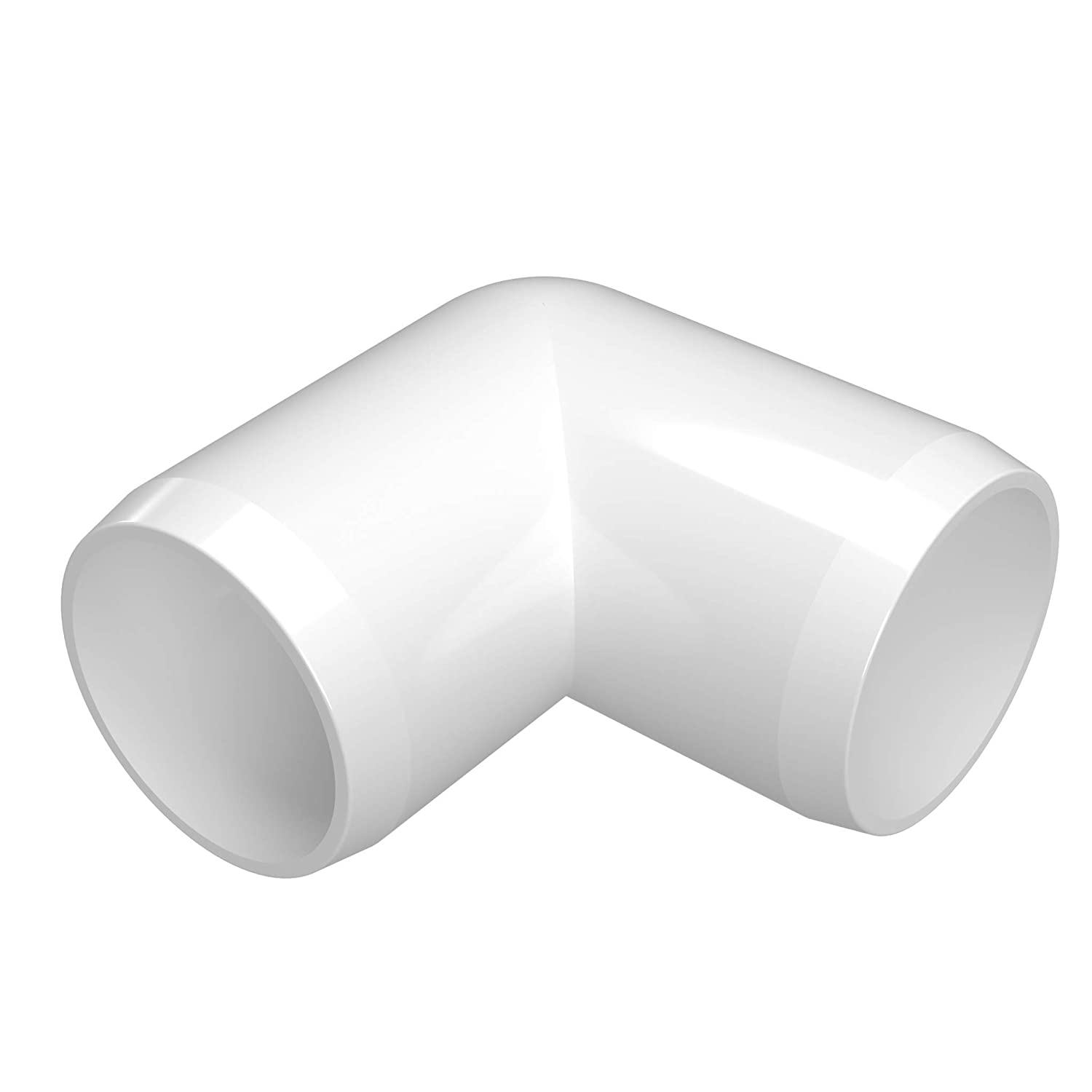 "FORMUFIT F00190E-WH-4 90 Degree Elbow PVC Fitting, Furniture Grade, 1"" Size, White (Pack of 4)"