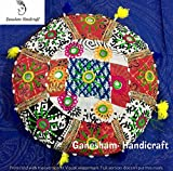 Indian Patchwork Hand Embroidered Mirror Work Cushion Vintage Round Floor Pillow Insert Boho Decor Bohemian Meditation Cotton PIllows Seating Pouf Ottoman 14 inch (Christmas Gift)