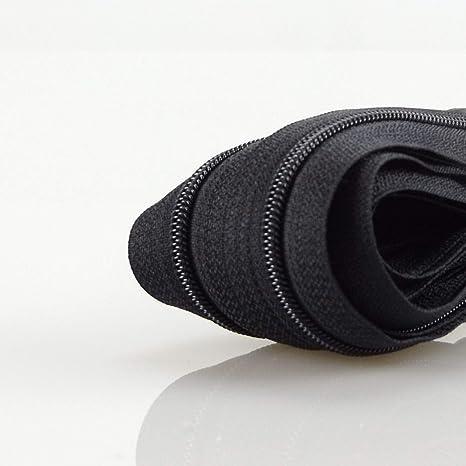 Zipper 32 Farben zur Auswahl 5 Meter inkl. 10 Zipper, Schwarz mit Silber ZIPP AND SLIDE 3 mm Endlosrei/ßverschluss Verschiedene L/ängen inkl