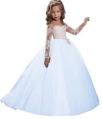 d5b5448e76b7d Amazon.com: KSDN Flower Girls Dress Toddler Princess Appliques First ...