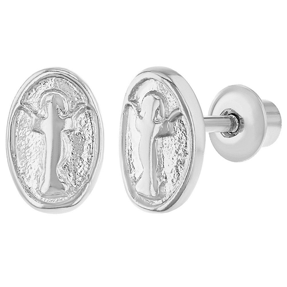 Rhodium Plated Divine Child Jesus Medal Screw Back Baby Girls Earrings