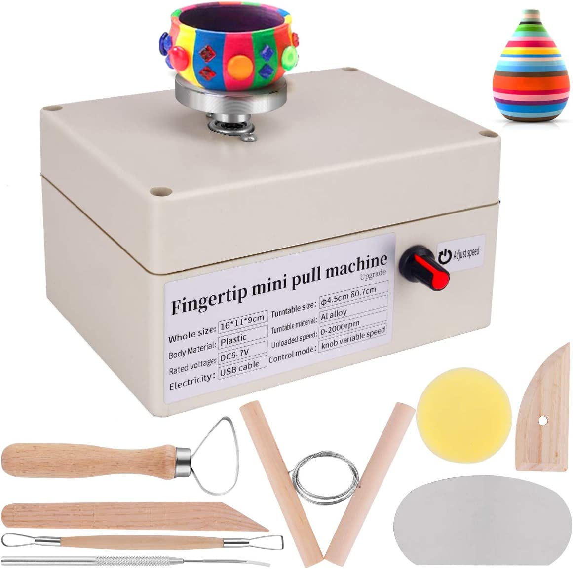 Yofuly Mini Pottery Wheel, USB Pottery Machine with 6 Pottery Shaping Tools, 2000 RPM Pottery Wheel Mini Clay Making Pottery Machine Ceramic DIY Craft for School Teaching, Pottery Bar or Home Use