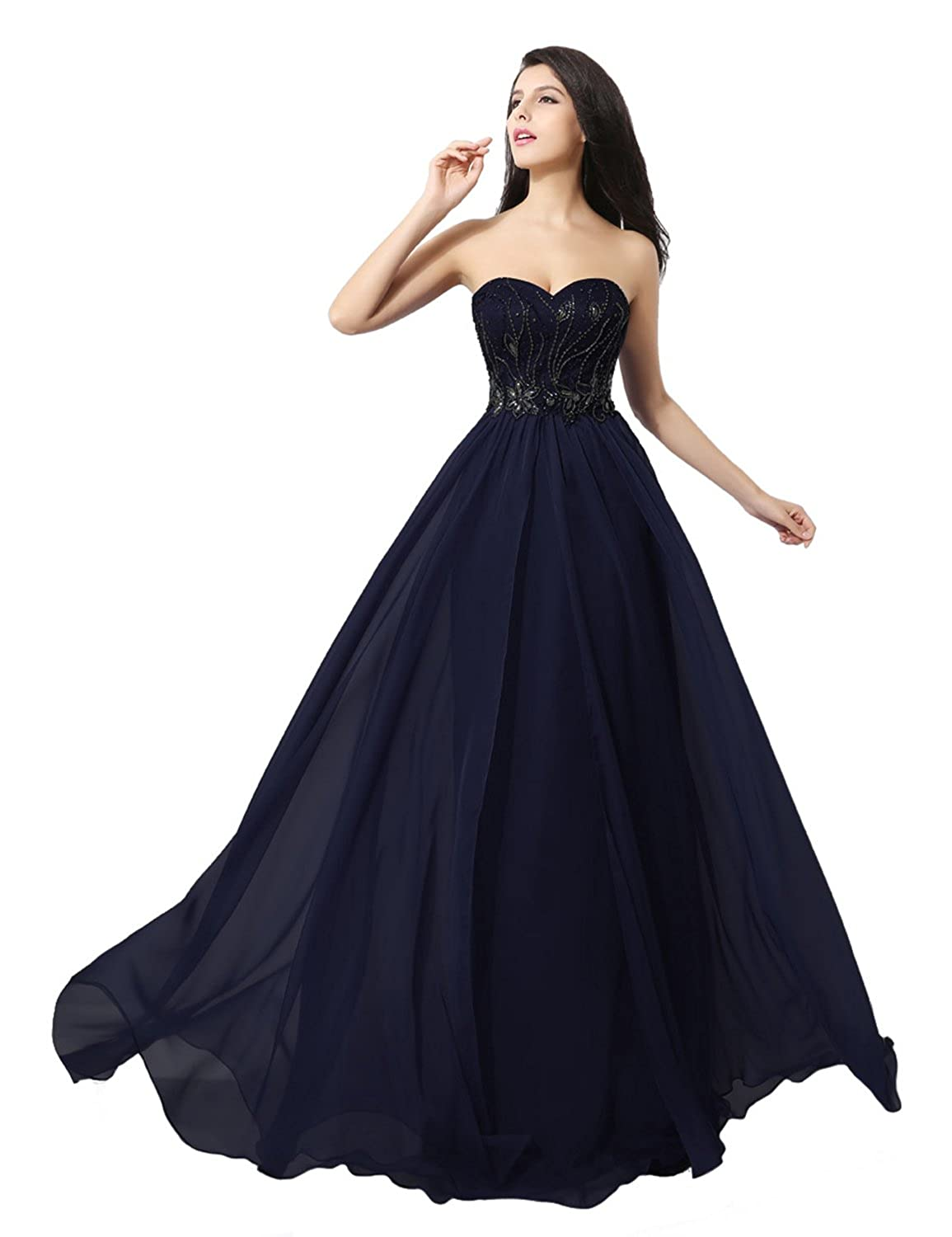 Sarahbridal Women's Long Sweetheart Chiffon Bridesmaid Dresses Beaded Evening Prom Dress Party Gowns SAJ009