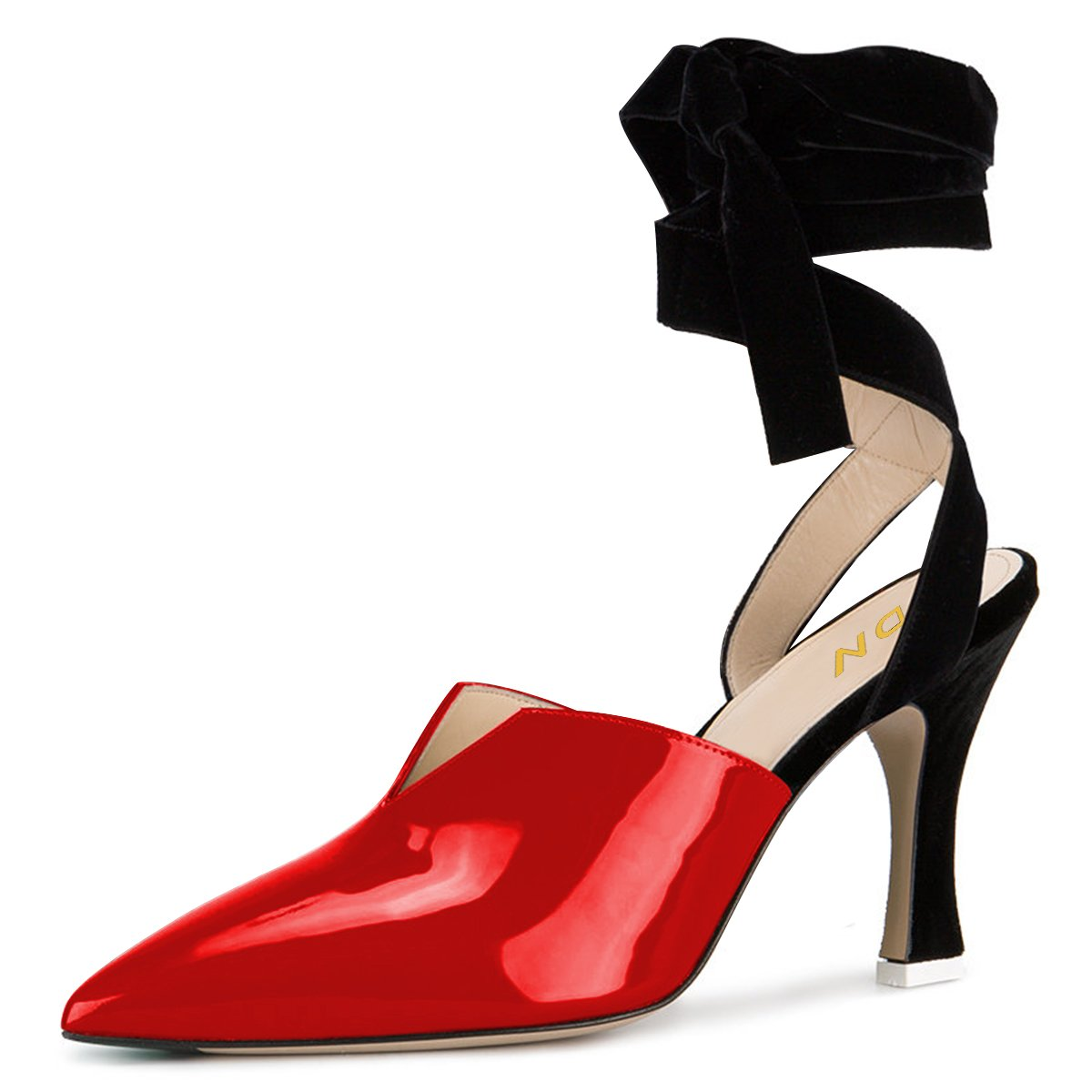 YDN Women Lace up Low Heels Sandals Pointed Toe D'Orsay Pumps Slingback Party Dress Shoes Red 5