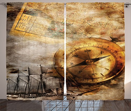 Compass Curtains Ambesonne Treasure Vintage product image