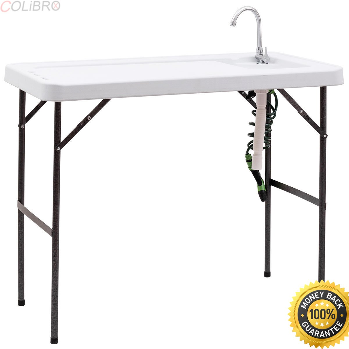 COLIBROX--Folding Fish Table Hunting Cleaning Cutting Camping Sink Faucet w Sprayer New. goplus folding portable fish hunting cleaning cutting table camping sink faucet. best fish cleaning table.