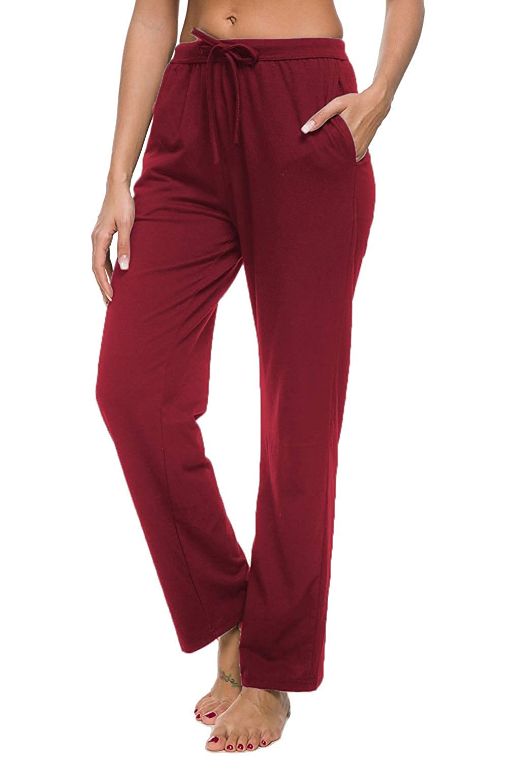 15 burgundy pinklux Women's Stretch Comfy High Waist Drawstring Wide Leg Polka Striped Pajama Pants Lounge