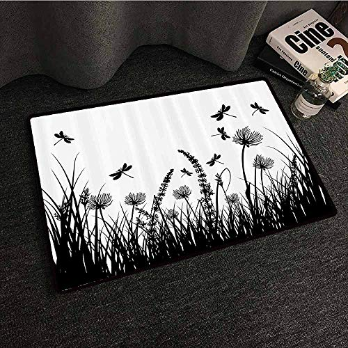 Nature Modern Door mat Grass Bush Meadow Silhouette with Dragonflies Flying Spring Garden Plants Display Easy to Clean Carpet W24 xL35 Black White