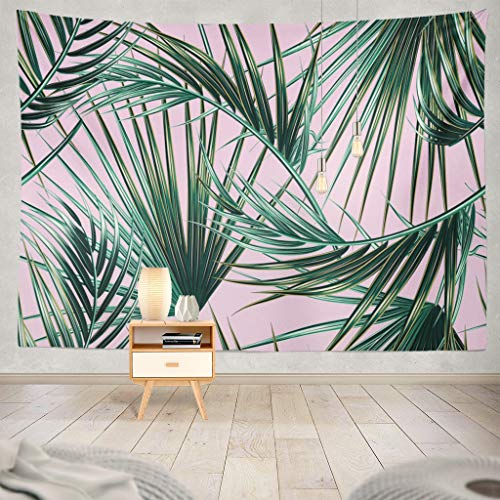 Pink Leaves - ONELZ Decor Collection, Tropical Palm Leaves Leaves Floral Tropic Palm Pink Leaf Beach Tree Green Hawaii Bedroom Living Room Dorm Wall Hanging Tapestry 60