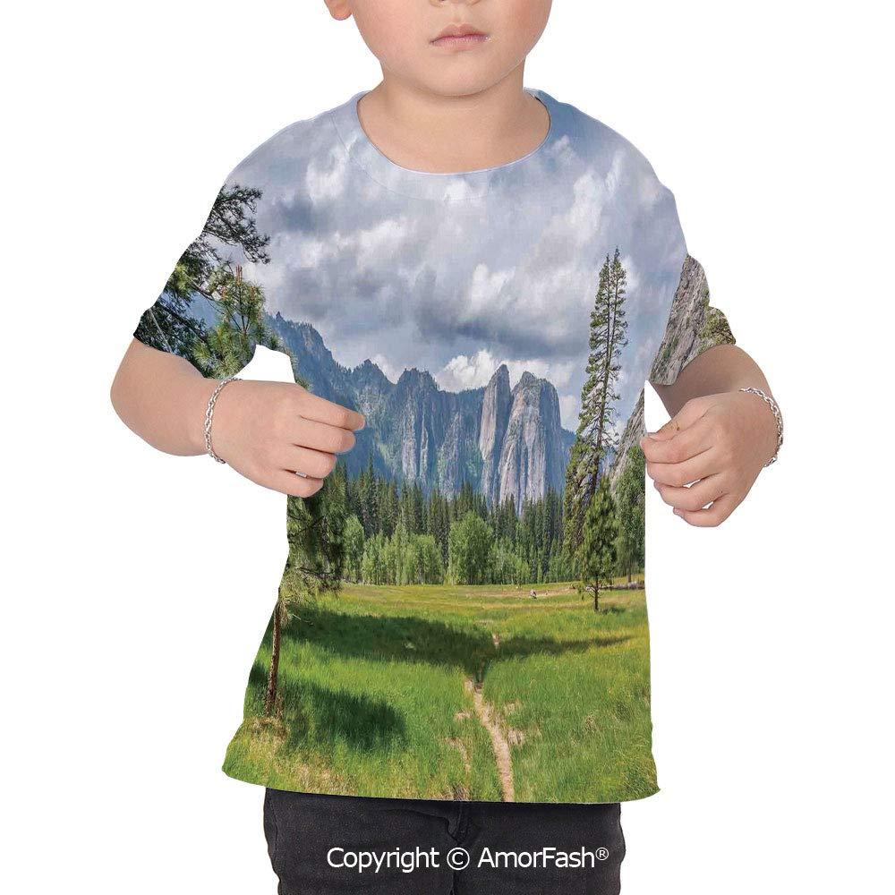 PUTIEN Yosemite Lovely Printed T-Shirts,Crew Neck T-Shirt of Girls,Polyester,Yosemite V