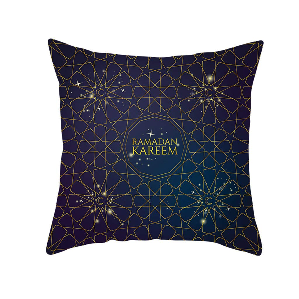 LIEJIE Pillow Cover for Muslim Ramadan, Moon Pattern Polyester Decorative Throw Pillow Covers Protectors Cushion Covers 18'' X18 Sofa Bedroom Car