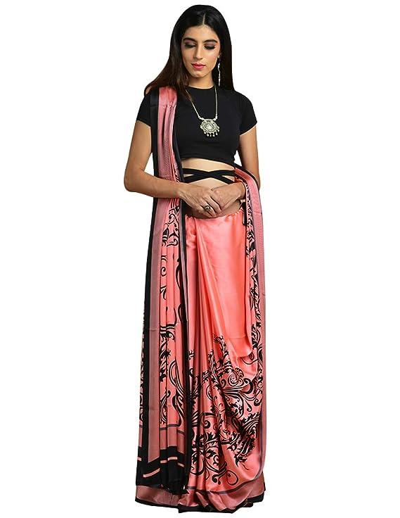 Craftsvilla Women S Satin Printed Traditional Pink Saree With