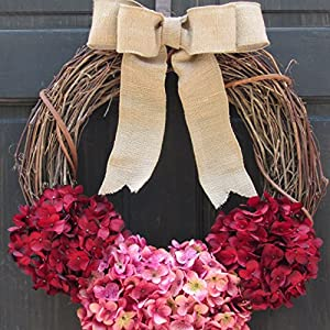 Rustic Hydrangea Grapevine Spring Summer Valentines Day Wreath for Front Door Decor; Burgundy Red and Rose Pink 5