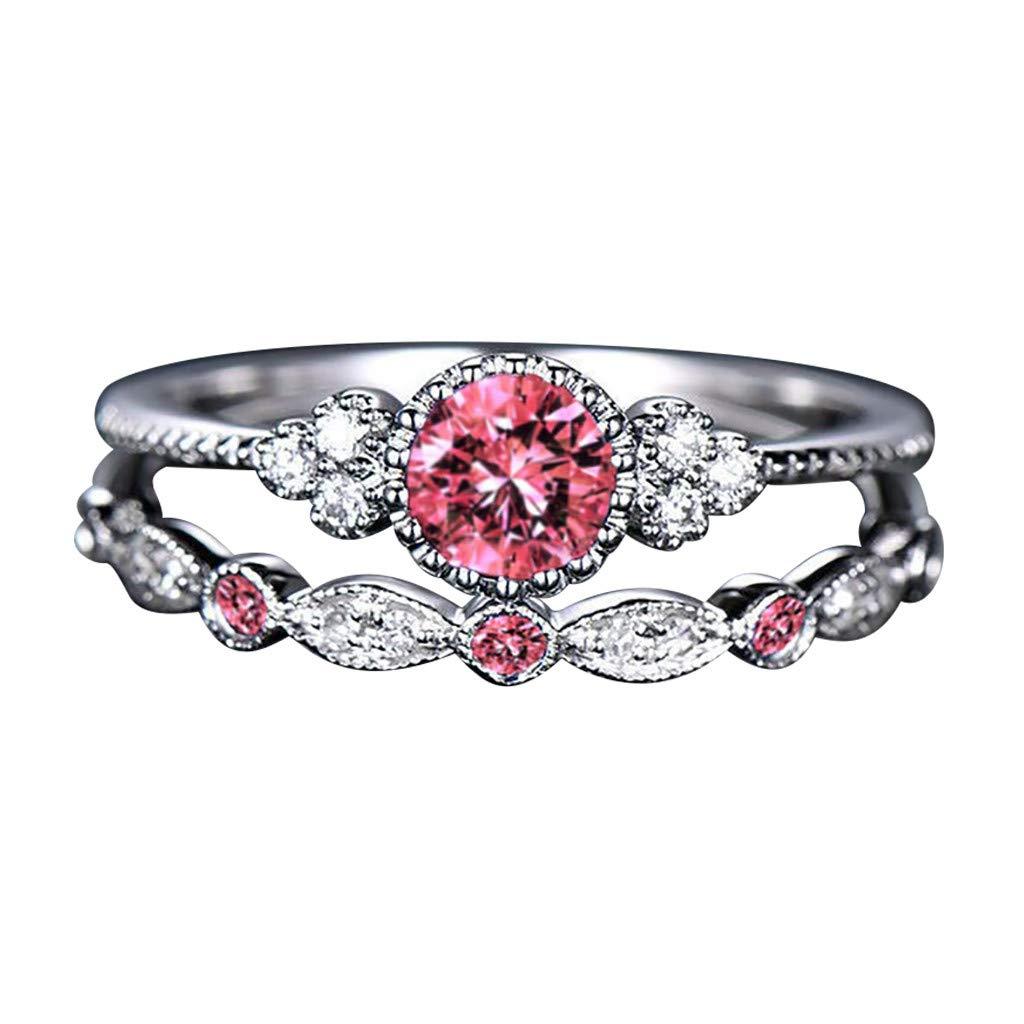 Sunlucky Womens Gemstone Ring Fashion Diamond Couple 1 Pair Rings Set Size 5-10 Jewelry Gift Ideas Under 5 Dollars