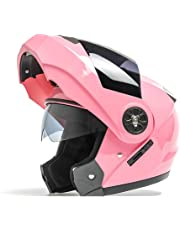 Cascos Casco Half Facelift Helmet/Double Lens Casco de moto/Hombres y Mujeres Four Seasons Universal Helmet (Color : Pink)