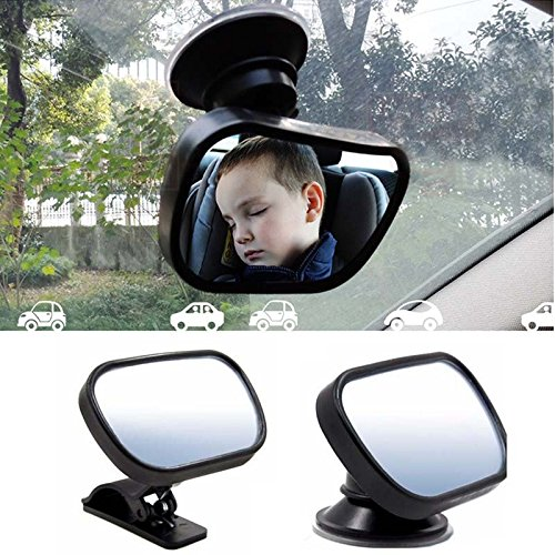 Baby Car Mirror, EnjoyULife Baby Safety Rearview Mirror, Child observation mirror, 360 Degree Adjustable, Shatterproof Acrylic, Suction Cup on Windshield/Clip on Car Sun Visor