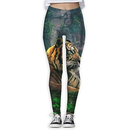 Sitting Tiger Womens Funny Print Yoga Leggings Pants Quick Dry Capri Leggings Workout Pants Gym Tights