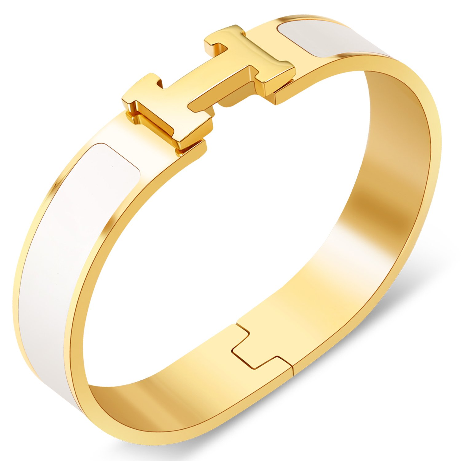 Yeemer Colorful Buckle Bracelet Bangle for Women, Couple, Girls, Mom and Teens (Gold&White color)