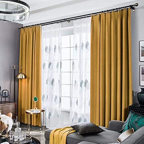 MacoHome Yellow Linend Velvet Curtains 2 Panels Blackout Grommet Drapes 85