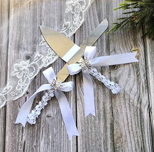Abbie Home Wedding Cake Knife and Server Set - Flower Wrapped Handle with Silk Bow and Rhinestone Jewelry Décor - Cake Butterfly Knife