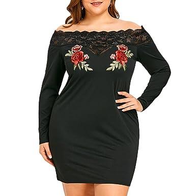 e64c30d068774c Blumengesticktes Schulterfrei Plus Size, Figurbetontes Kleid Elegant  Frühling Sommer Herbst Kleid Vintage Partykleid A-
