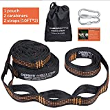 Extra Long Adjustable Hammock Tree Hanging Straps Set - No Stretch Suspension System Kit Hammock Accessories with Carabiners,Fits all Hammocks for Travel Camping Hiking (10FT,19 Loops)