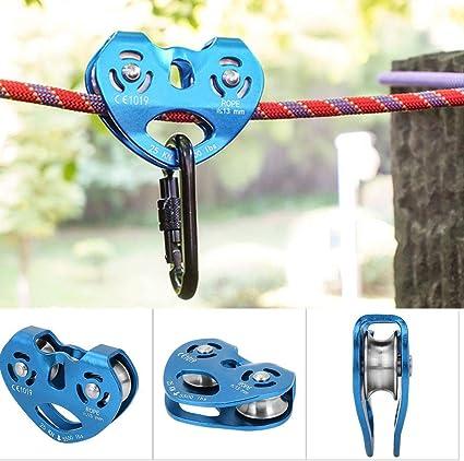 Polea de tirolina de Escalada Trolley Doble 25KN Aleación de Aluminio Heavy Duty Single Swivel Rope Polea Block Climbing Safety Equipment(Azul): Amazon.es: Deportes y aire libre