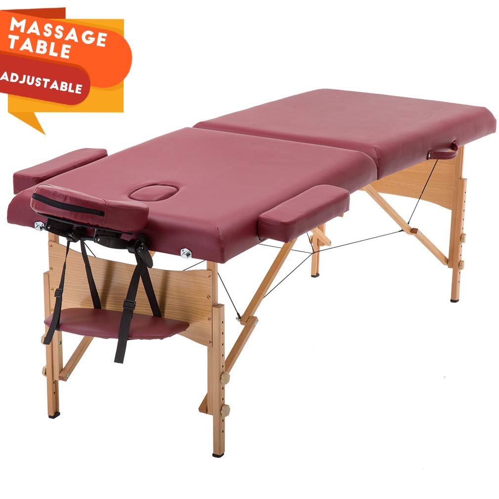 Portable Massage Table Massage Bed Spa Bed Height Adjustable Massage Table 2 Folding Massage Bed 73'' Spa Bed Facial Cradle Salon Bed W/Carry Case