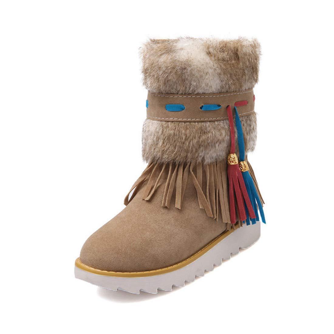 DANDANJIE damen Stiefel Bohemia Schneestiefel Warm National Style Quaste Lässig Winterstiefel