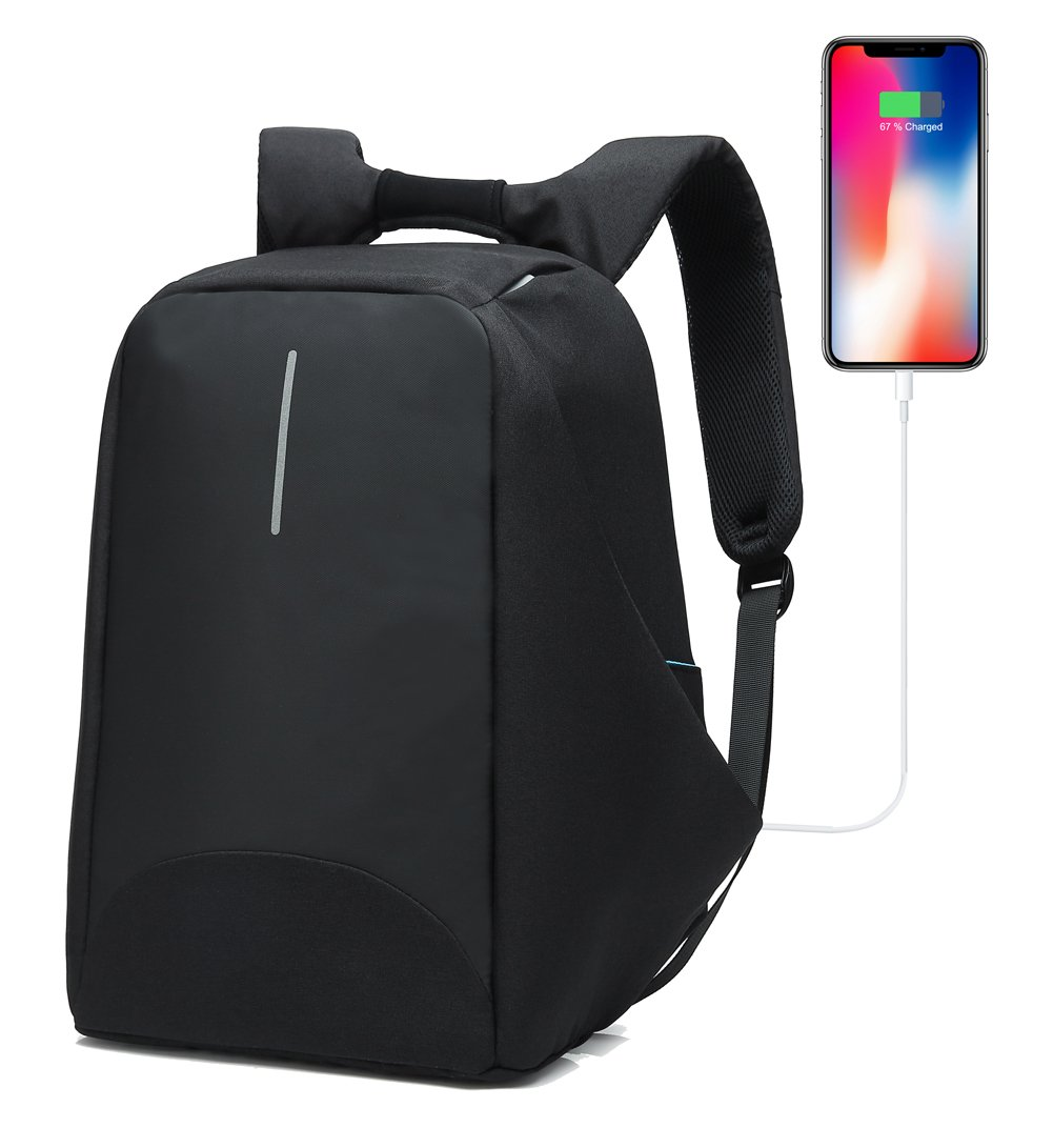 SAMI Studio Anti-Theft Business Laptop Backpack USB Charging Port Fits to 15.6 inch Computer Lightweight Water-Resistant Knapsack Black1 CB0405