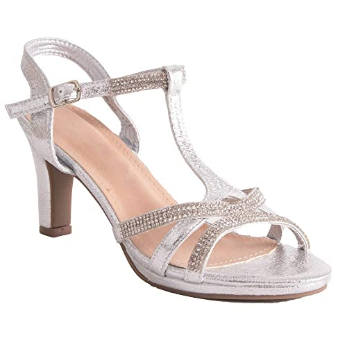 b6e6cb6d7f5637 Chaussure Mariage Femme Sandale argentée & Strass Diamant Talon Bas 7cm à Bout  Ouvert Bride cheville