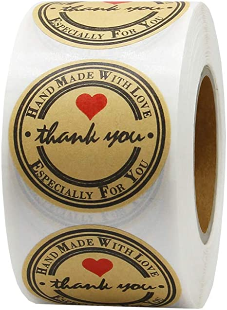 Yoget Handmade With Love Sticker Thank You Stickers Kraft Paper Thank You 1Inch