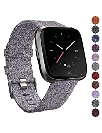CAVN Fitbit Versa Band Woven for Women Men Replacement Fabric Quick Release Watch Woven Band for Fitbit Versa Smartwatch with Classic Square Stainless Steel Buckle (2-Grey)