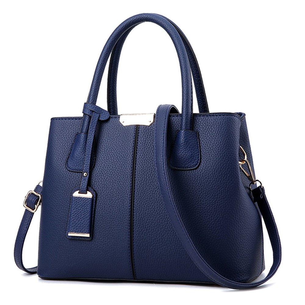 SYXLCYGJ Women Top Handle Satchel PU Handbags Shoulder Bags Tote Purse Messenger Bag (deep blue)