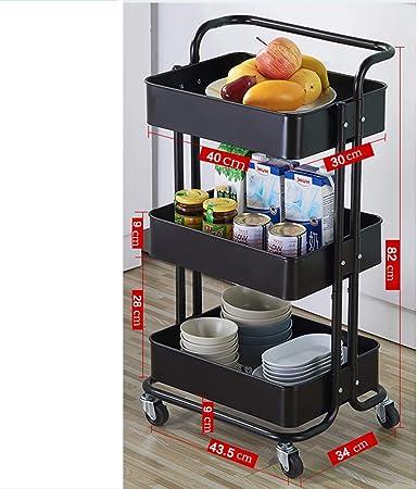organizador de ruedas para cuarto de ba/ño dormitorio carro de herramientas cocina negro carro multiusos con ruedas Carro de almacenamiento con 3 pisos carro de metal con ruedas