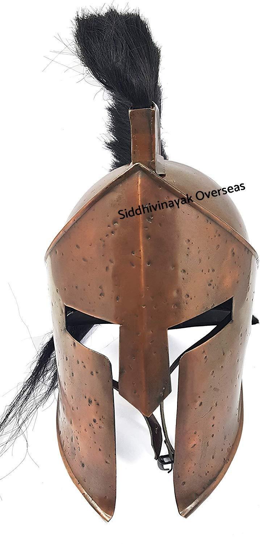 Medieval 300 King Leonidas Spartan Helmet Black Plume Copper Finish by Siddhivinayak overseas (Image #4)