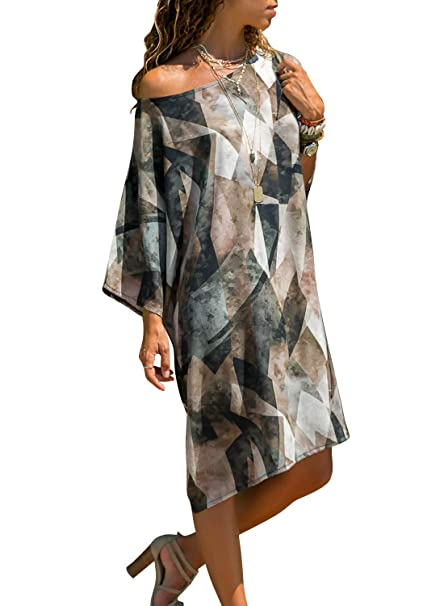 054379b6a1ad ZKESS Women Casual Pattern Loose Baggy T-Shirt Dress Off The Sholder  Colorblock Printed Dresses