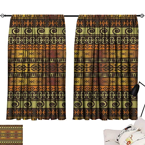 Warm Family Zambia Sliding Curtains Ethnic Ornamental Abstract Heritage Traditional Ceremony Ritual Image Set of Two Panels 63