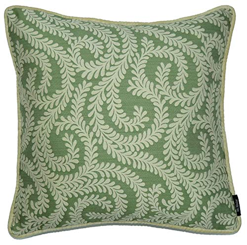 - McAlister Plush Woven Little Leaf Euro Sham Pillow Cover | Floral Damask Vine| 24x24 Sage Green Decorative Zip Cushion Case | Chinoiseries Shabby Chic Accent, Modern Decor