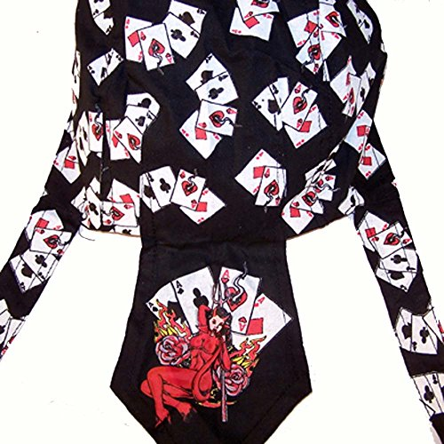 - 2 Pieces Devil Women with Aces Playing Cards Bandanna Wrap Around Do Rag Hat - Men or Women Cap
