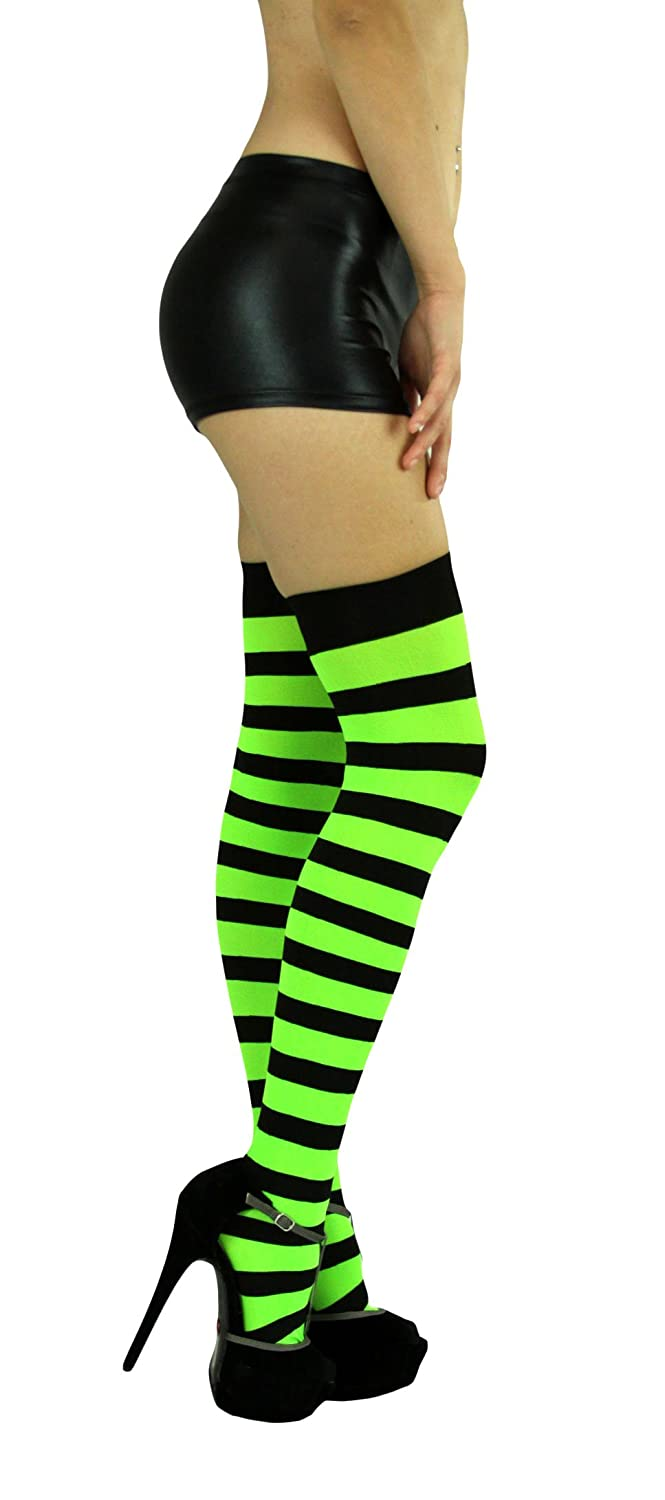 75f1ed872fb39 Amazon.com: ToBeInStyle Women's Wide Vertical Striped Thigh Hi Stockings  Free, Black Green: Clothing