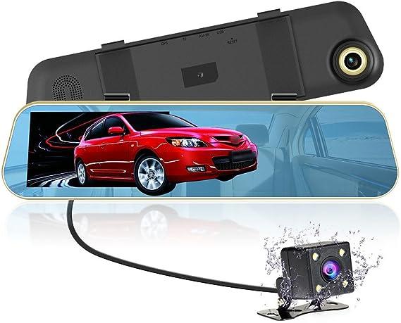 "VICTONY 1080P Full HD 4.3/"" LCD Rearview Mirror Car Dash Cam,Dual Lens Vehicle..."