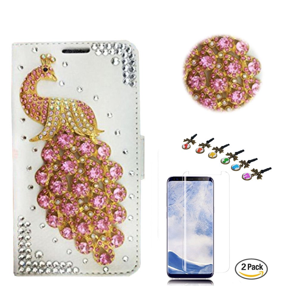 STENES LG V35 ThinQ Case - Stylish - 3D Handmade Crystal Peacock Design Wallet Credit Card Slots Fold Media Stand Leather Cover with Screen Protector for LG V35 ThinQ - Pink