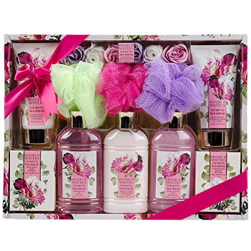 11pc Brooks & Waters Bath Gift Set Soak Shower Gel, Body Lotion, Bubble Bath, Poufs Body Scrub, Hand Lotion, Soap Petals For Her Women