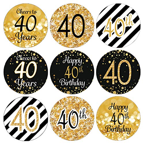 40th Birthday Party Invitations (Black and Gold 40th Birthday Party Favor Stickers - 180)