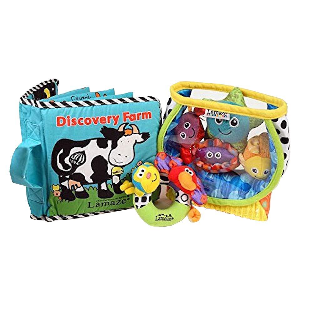 Lamaze Baby Toys Bundle #2 - Award Winning Set of 3. Fish Bowl, Discovery Farm Book & Safari Rattle.