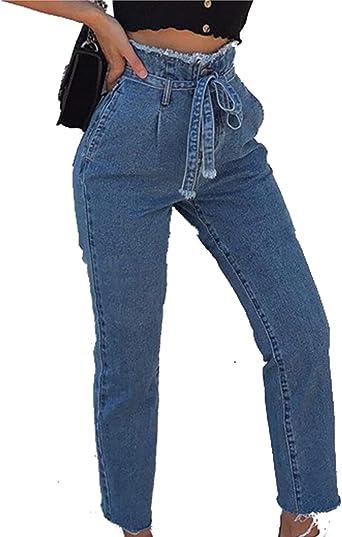 Amazon Com Naliha Pantalones Vaqueros Normales De Cintura Alta Para Mujer M Clothing
