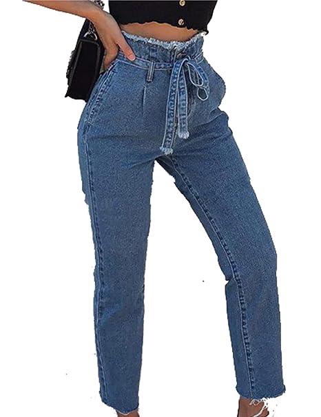 Amazon.com: Naliha - Pantalones vaqueros normales de cintura ...