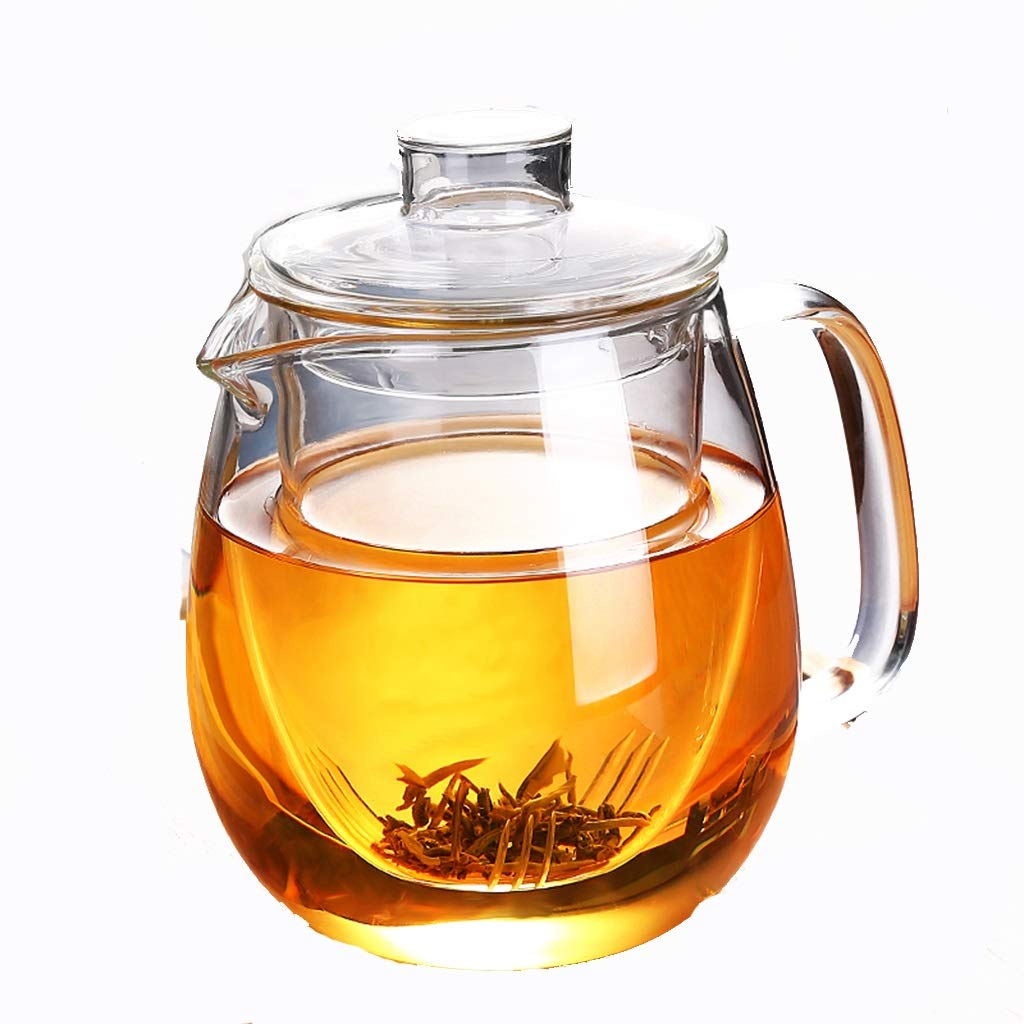 Glass teapot high temperature resistant thickening tea cup red tea set home brewing tea filter single pot kettle CHAJU (Size : 600ml) by CHAJU