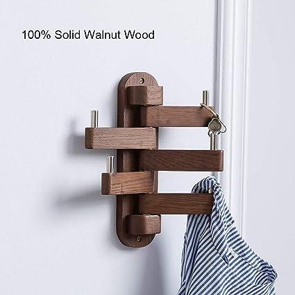 Moderno Montado en la pared Perchero de madera con gancho ...